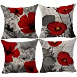 Andreannie Beautiful Charming Watercolor Oil Painting Red Poppy Sweetheart Cotton Linen Throw Pillow Case Cushion Cover…