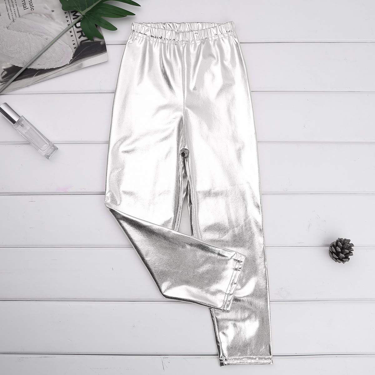 YONGHS Kids Girls Metallic Color Stretch Solid Skinny Pants Leggings for Dance Performance Yoga Active