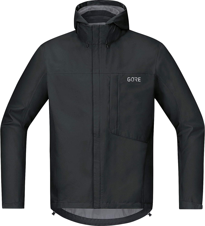GORE WEAR C3 Chaqueta de hombre con capucha GORE-TEX, L, negro