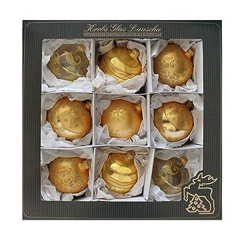 Christbaumkugeln Lauscha.Krebs Glas Lauscha Weihnachtsdeko Gold Satin Gold Glaskugelsortiment 10cm Mundgeblasen Christbaumkugeln