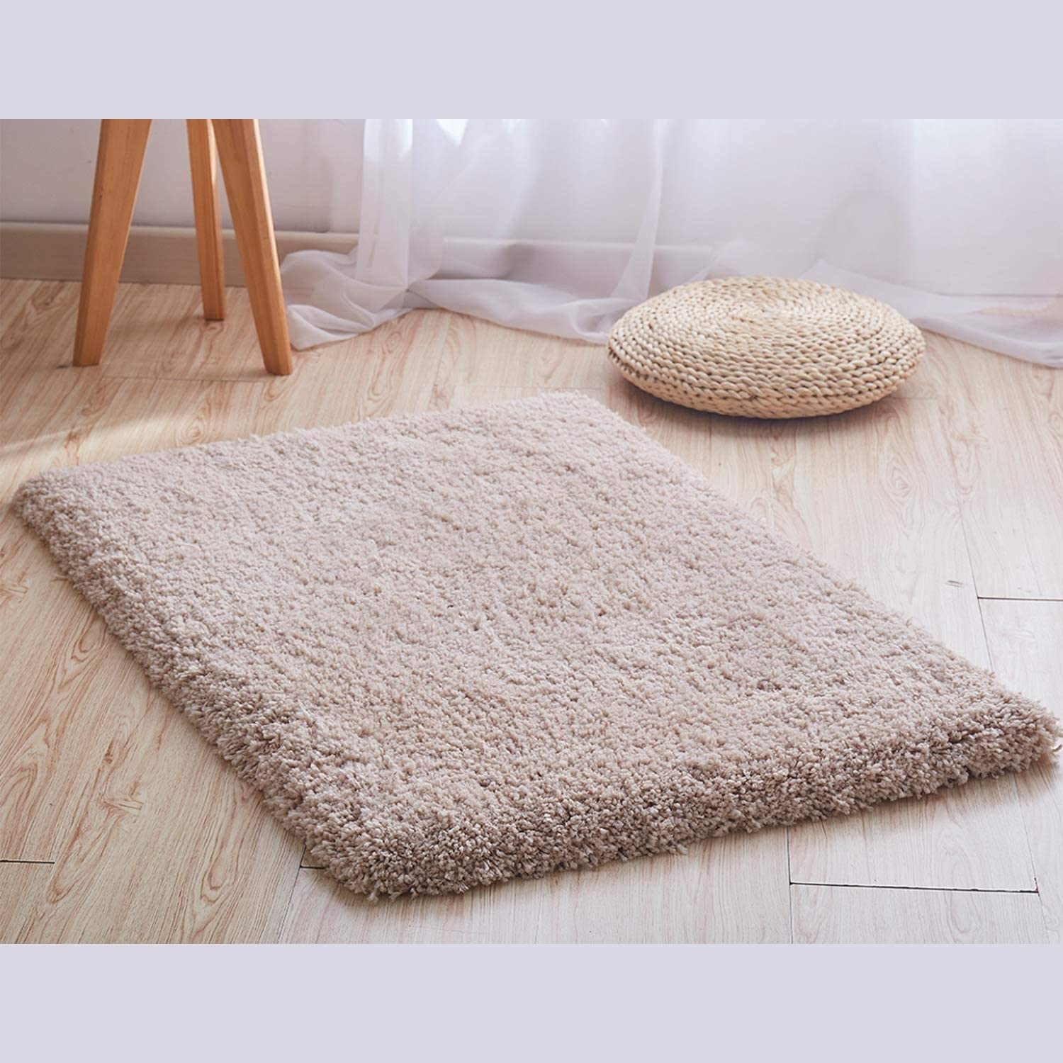Morevee Soft Area Rugs, 44x72 Inch Solid Shag Collection Modern Plush Cloud Beige Area Rug Dining Room Home Decor Living Room Floor Carpets Fluffy Mat (Medium)