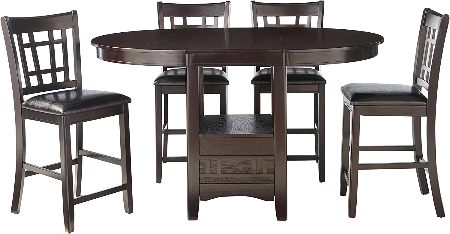 Coaster Home Furnishings Lavon 5 Piece Storage Counter Table Dining Set Espresso And Black Table Chair Sets