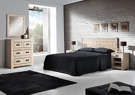 Suenoszzz- Dormitorio Matrimonio Niza. Incluye: Cabecero Matrimonio- 2 Mesitas De Noche - Comoda 4 Cajones - Espejo. Color Blanco Lavado. Madera De ...