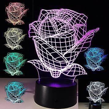 Amazon.com: 3d Rose lámpara de ilusión óptica color Changing ...