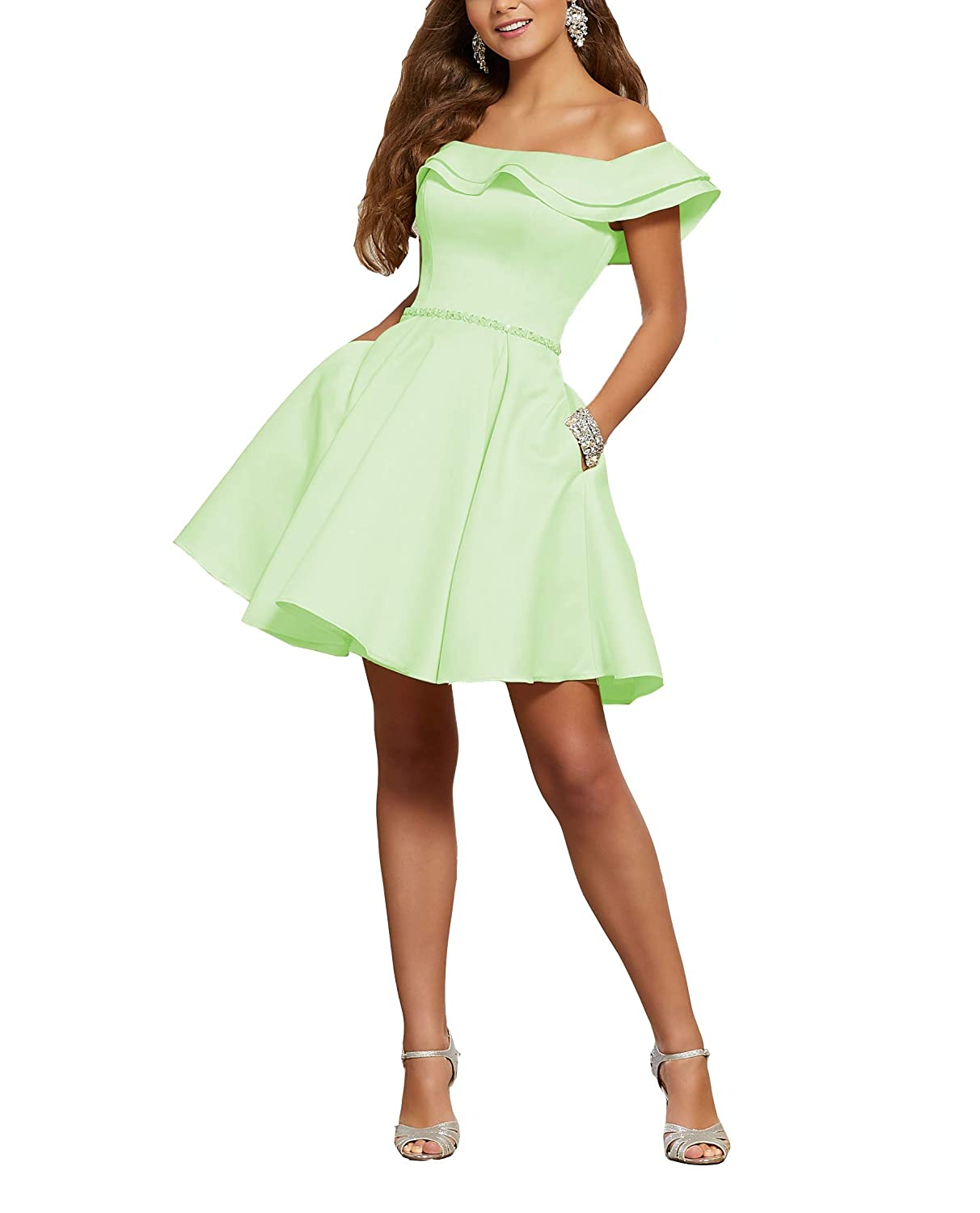 Shortmint YMSHA Women's Halter Prom Dresses with Pockets Long Satin Crystal Evening Formal Gown O38PM