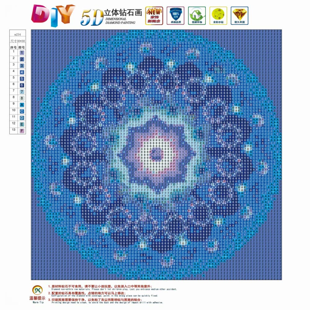 5D Diamond Painting Full Round Drill Kits for Adults Pasted Embroidery Cross Stitch Arts Craft for Home Wall Decor Blue Kaleidoscope 12x12in