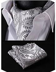 HISDERN Wedding Ascot Ties for Men Elegant Paisley Floral Jacquard Woven Cravat Tie and Pocket Square Set