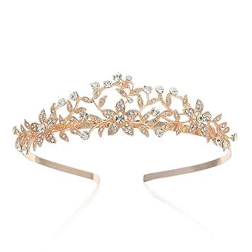 Amazon Com Sweetv Rose Gold Wedding Crown Bridal Tiara Crystal