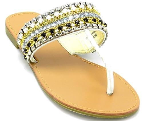 eaaa71072e297 DEV Woman s Multicolor Rhinestones Beads Gladiator Flipflop Slip On Sandal  Thongs Shoes