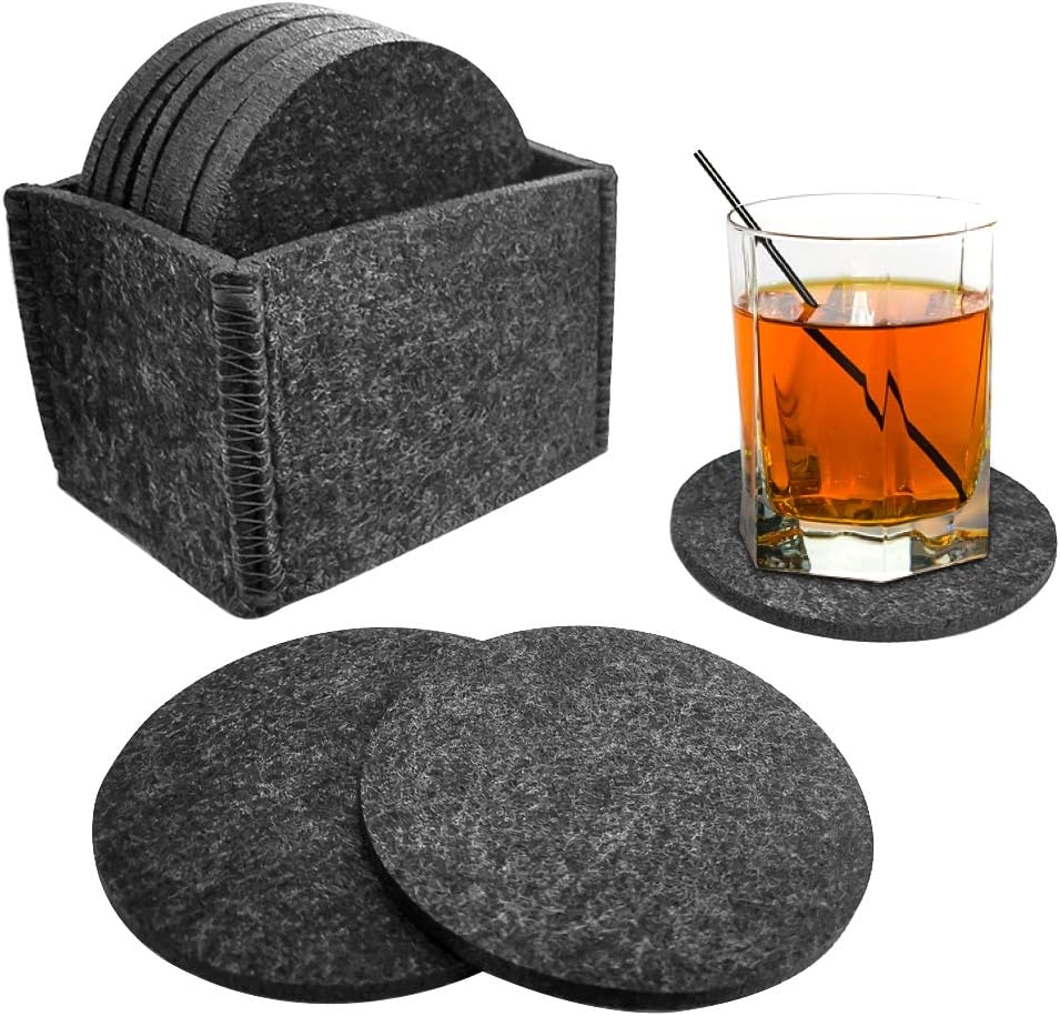 KDRose 12PC Absorbent Felt Coasters for Drinks with Multipurpose Holder- Drink Coaster Set - PVC Anti Slip Dot Backing - Coasters for Home, Office - Coffee Table Decor - Housewarming Gift (Black)