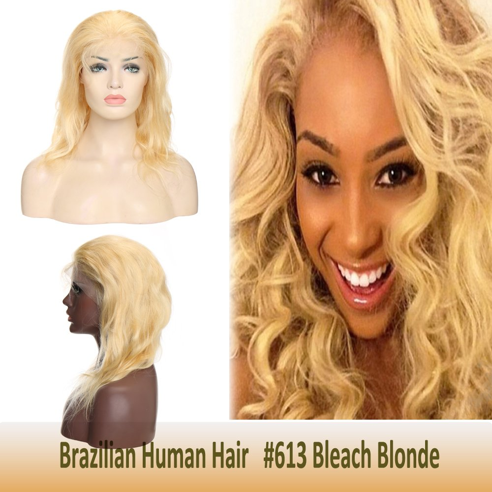"#613 Human Hair Lace Front Blonde Wig 12"" with Baby Hair for Women Body Wave Glueless Swiss Frontal Lace Free Part Long Brazilian Virgin Hair Pre-plucked 130% Density Bleach Blonde 71C7ywx-owL"