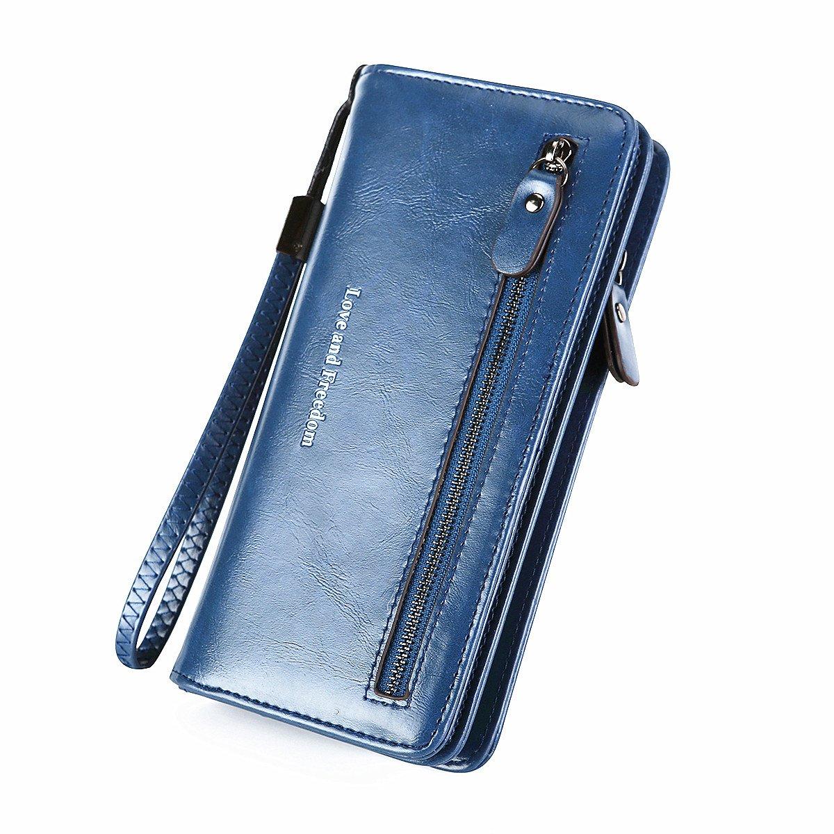 RFID Wallets for Women Wristlet Leather Clutch Travel Purse Long Zipper Multi Card Organizer (Dark blue)