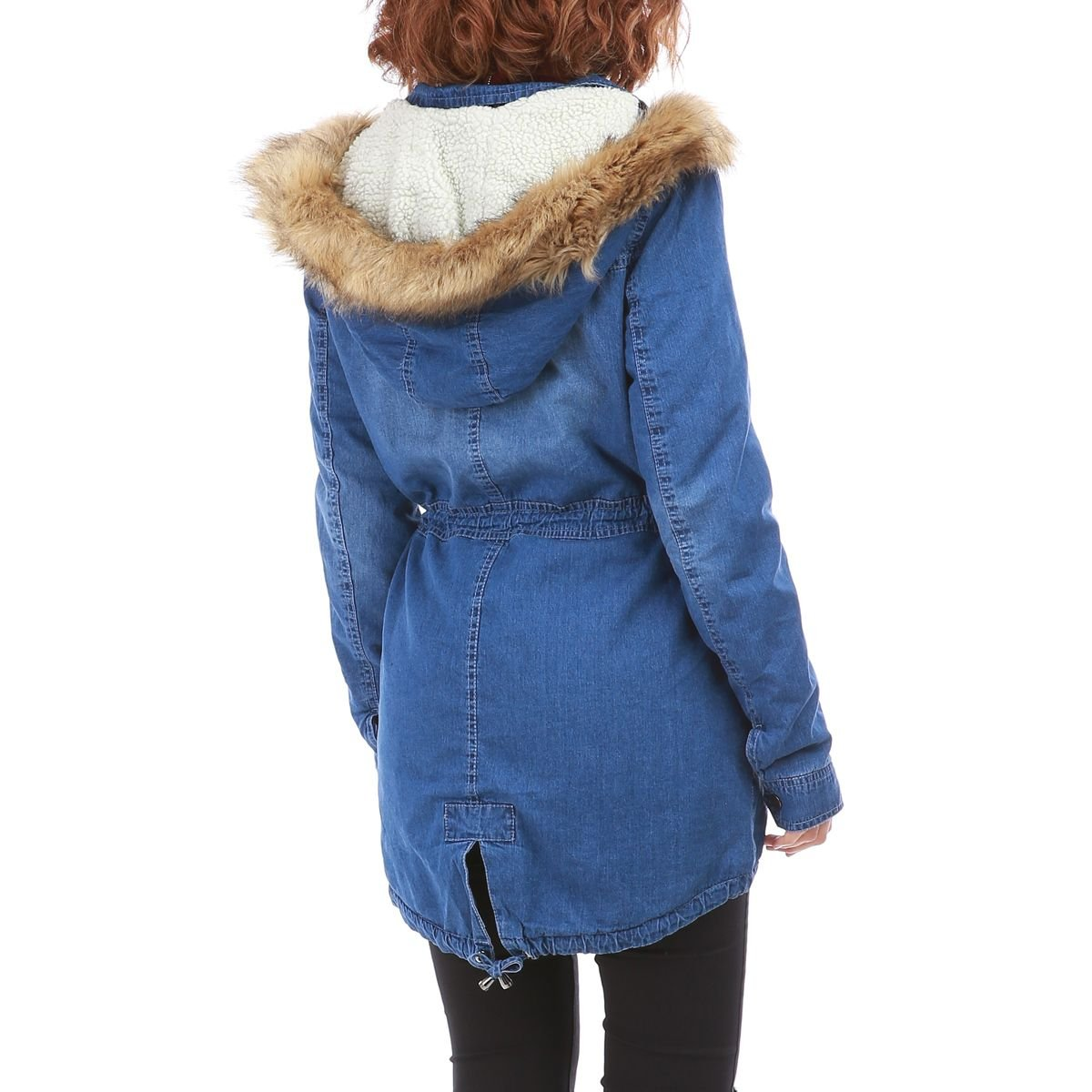 447cf2d603c8 La Modeuse - Parka Longue en Jean Bleu Femme  Amazon.fr  Vêtements et  accessoires