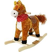 Toyshine Unicorn Horse Mini Wooden Rocker for Kids with Music and Light Brown, White