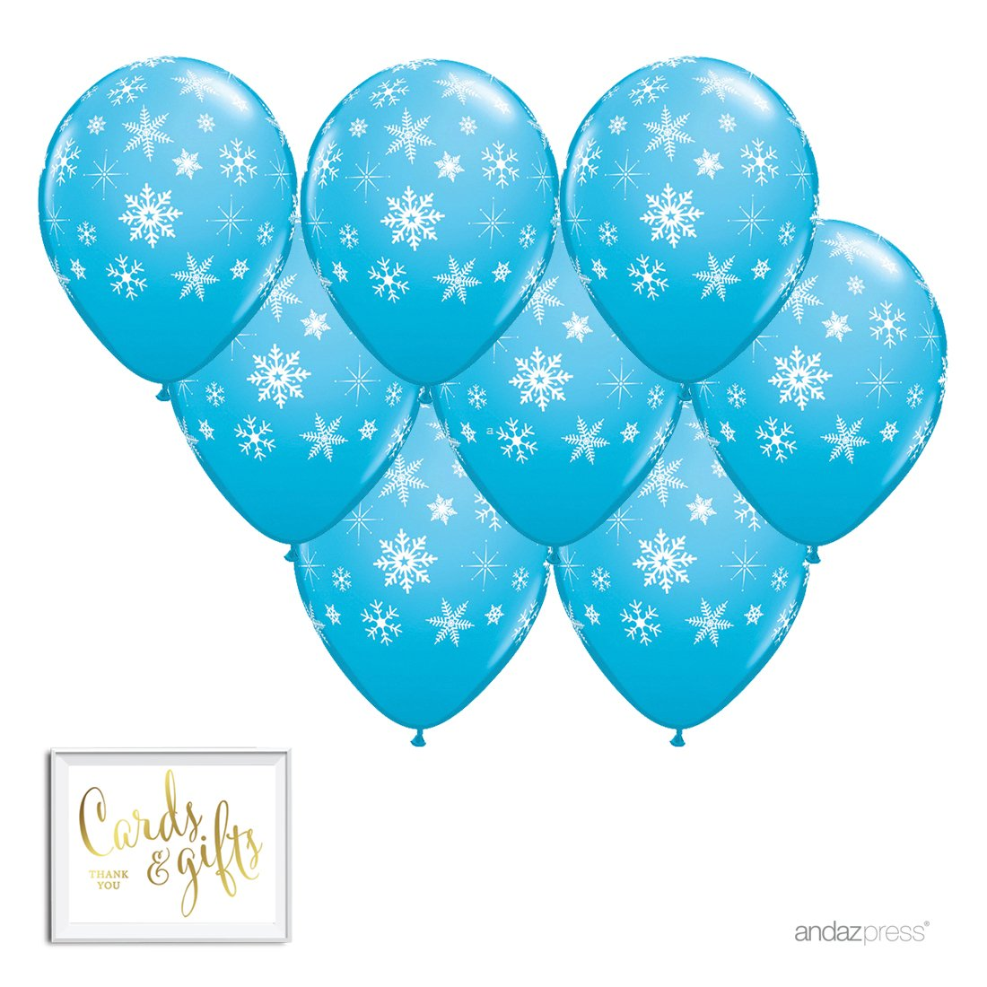 Andaz Press Printed Latex Balloon Party Kit with Gold Cards Gifts Sign, Frozen Blue Winter Snowflakes, 8-Pk