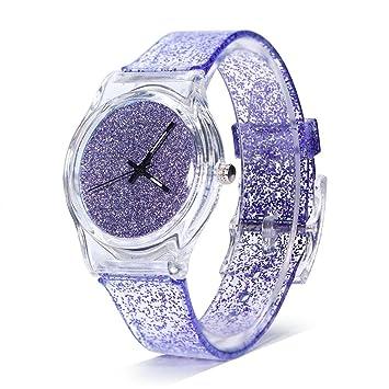 Sonew Relojes de cuarzo para mujer brillo reloj de pulsera en polvo caja de dial redondo cómodos relojes de correa de plástico para adolescentes reloj de ...