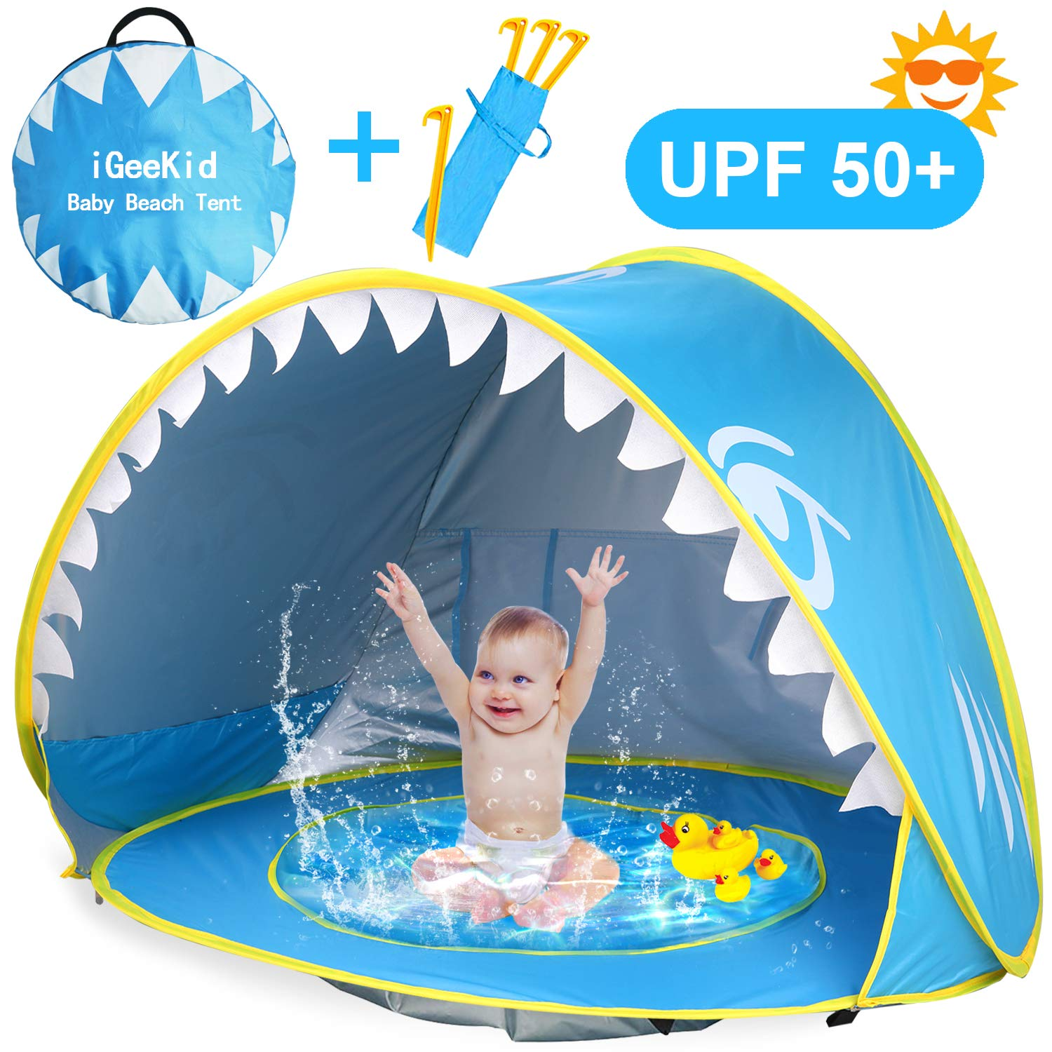 iGeeKid Baby Beach Tent, Shark Pop Up Portable Sun Shelter Tent with Pool UPF 50+ UV Protection & Waterproof Sun Tent Beach Shade Baby Pool Tent for Toddler Infant Aged 0-4