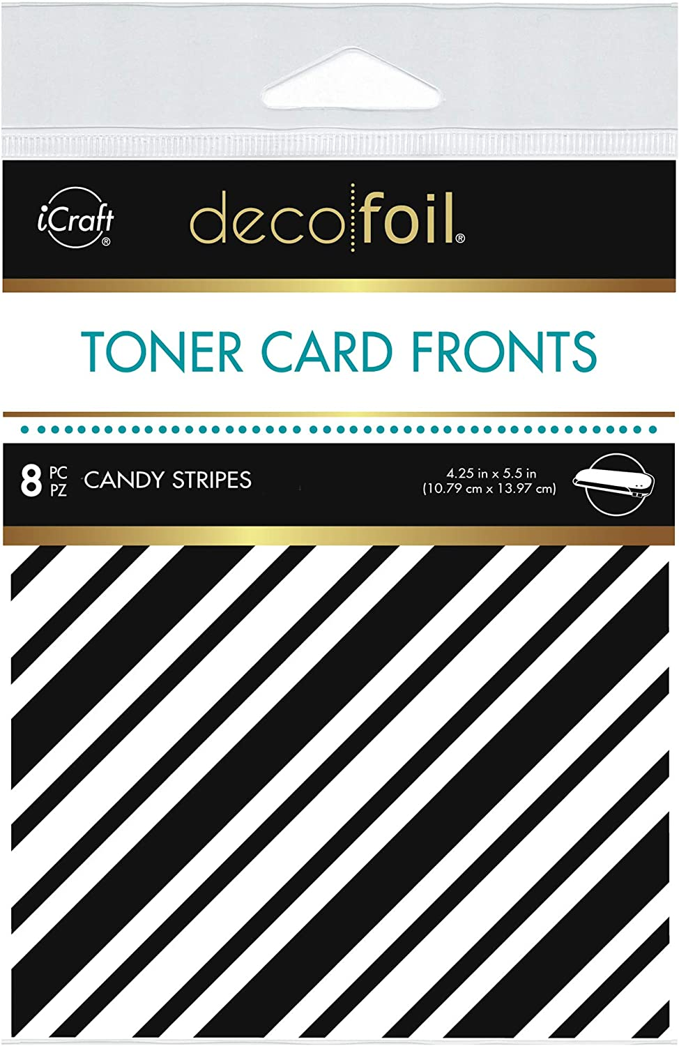 iCraft Deco Foil White Toner Card Fronts, Candy Stripes, 4.25