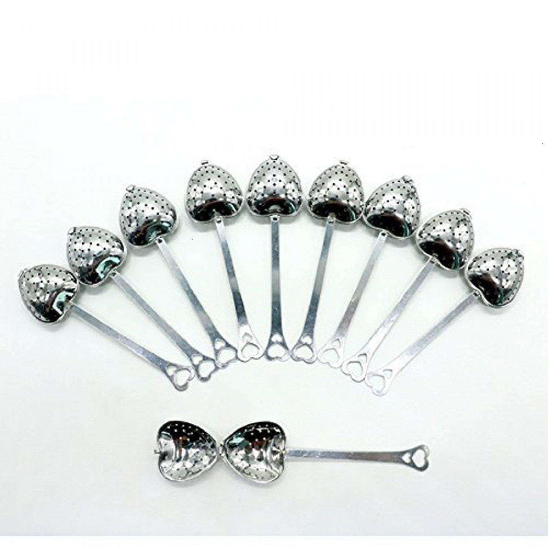 Buorsa Tea Filter Long Grip Stainless Steel Mesh Heart Shaped Tea Strainer Spoon, Set of 10 Tea Infuser Spoon, 10 Pcs