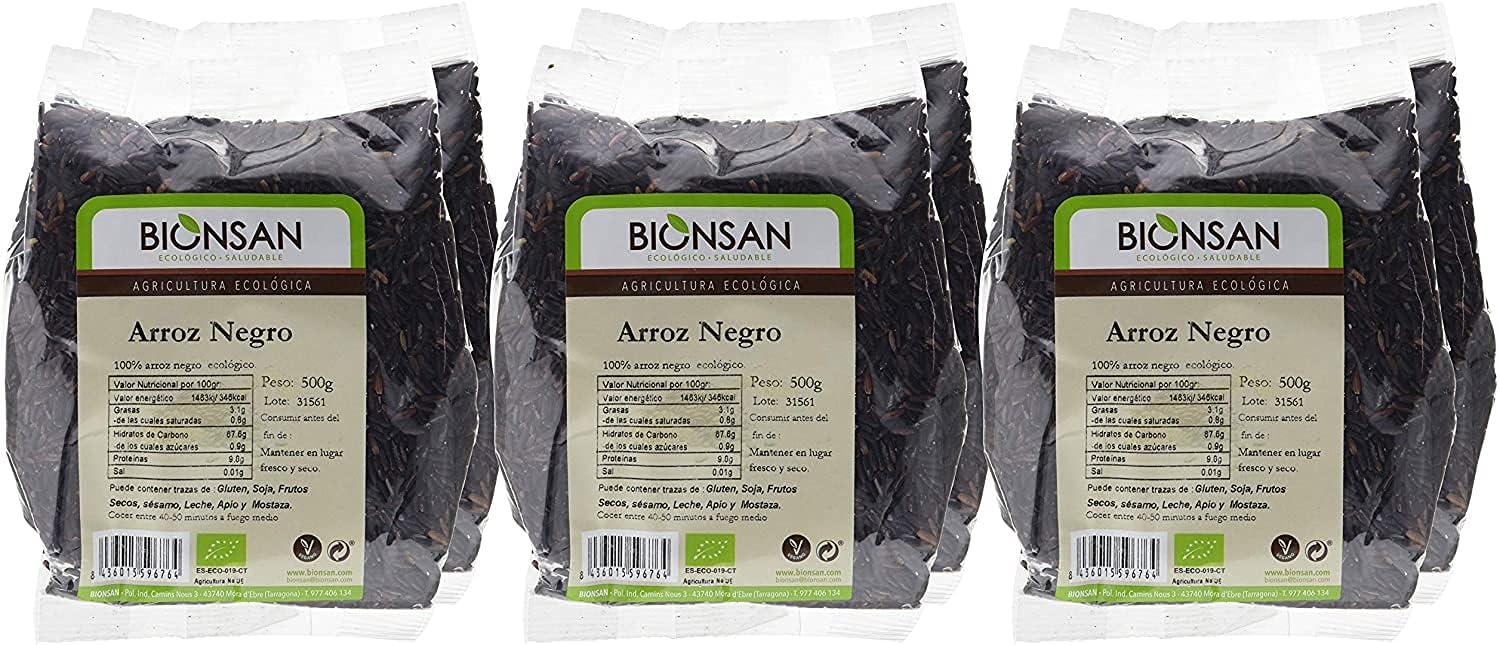 Bionsan Arroz Negro Ecológico - 6 Bolsas de 500 g - Total: 3000gr