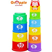 Orapple Stack It Learning Cups with Music Stacking Toys for Kids 1 2 3 4 Years (Multi Color)