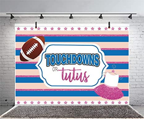 New 7x5ft Party Photography Background Touchdowns Or Tutus Blue and Pink Ballet Skirt Football Photo Backdrops Pictures Adult Artistic Portrait Photoshoot Props