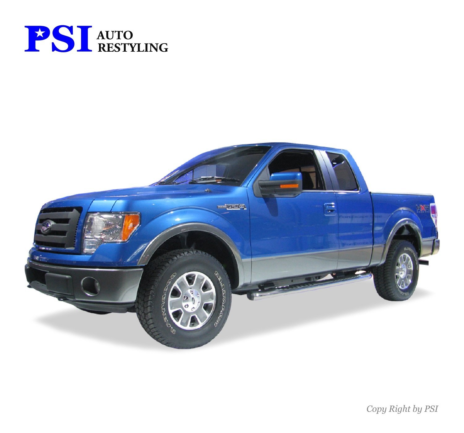 PSI Auto Restyling 801-0313 Rugged Style Fender Flares; Front and Rear; Flare Width 4 in; Tire Coverage 2.5 in; Smooth Black