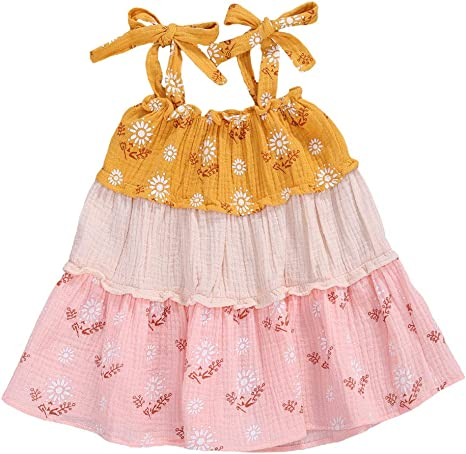 Geagodelia Toddler Baby Girl Tutu Dress Sleeveless Ruffle Princess Dress Party Festive Wedding Summer Outfits Clothes