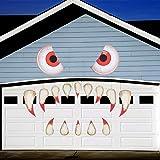 FINGOOO Decoraci/ón de garaje de Halloween Decoraci/ón al aire libre Ojos de monstruo Colmillos Ventana Coche Halloween Decoraci/ón Fiesta Decoraci/ón Rojo