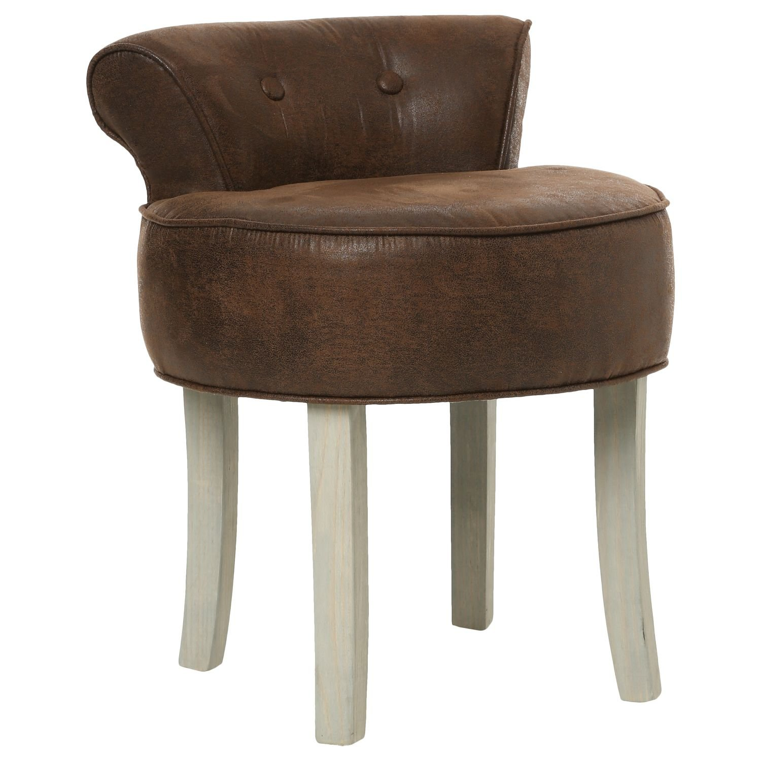 Atmosphera Vanity stool - AGED LEATHER look - Colour BROWN