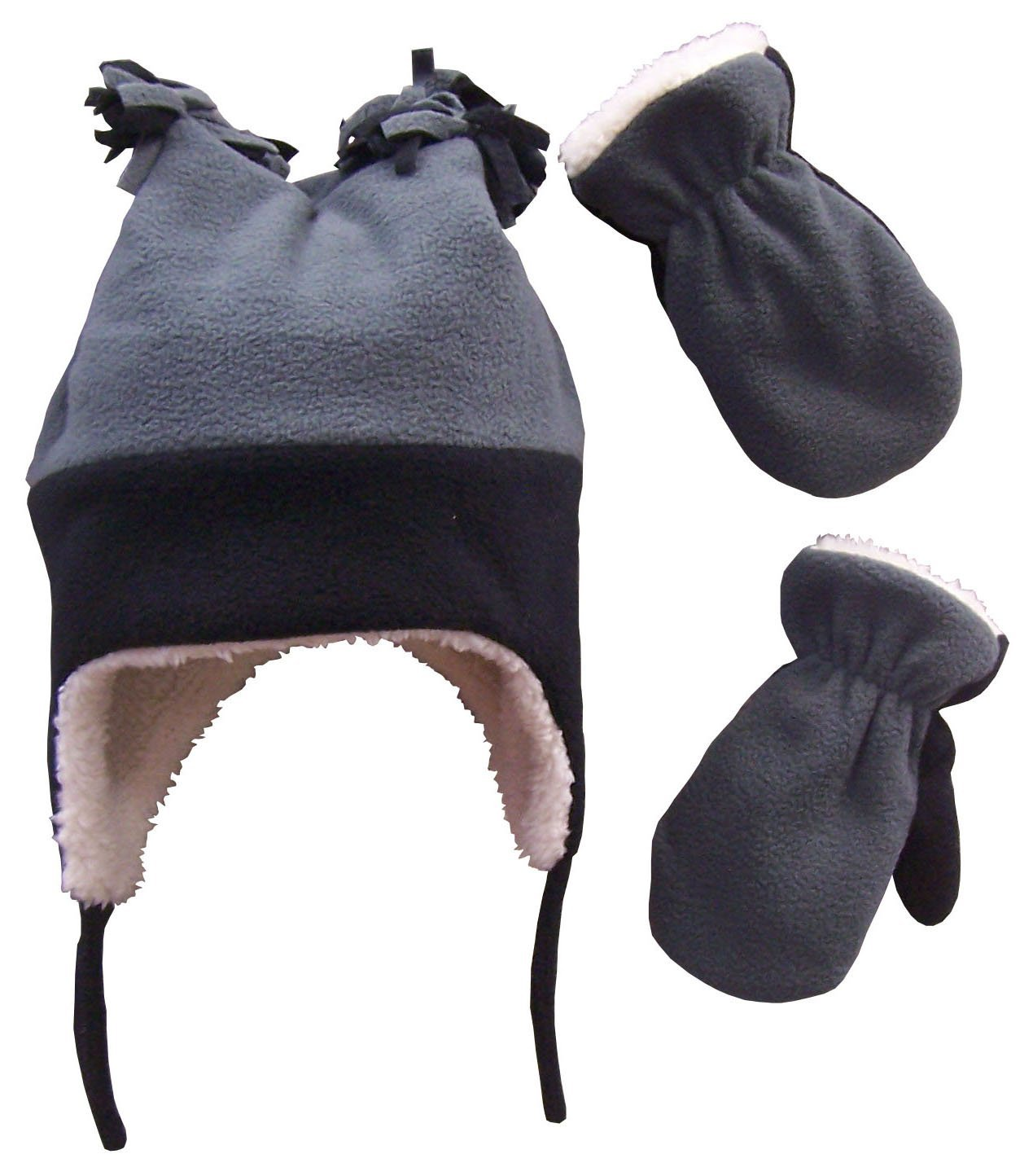 N'Ice Caps Boys Sherpa Lined Micro Fleece Four Corner Ski Hat and Mitten Set (4-7 Years, Black/Charcoal Grey)