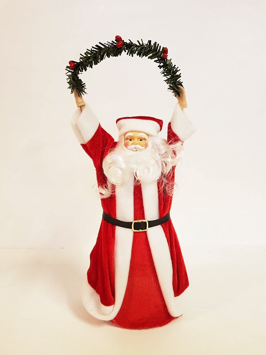 Santa Tree Topper, ideal for larger trees, Father Christmas in Red Velour Suit Homestreet®