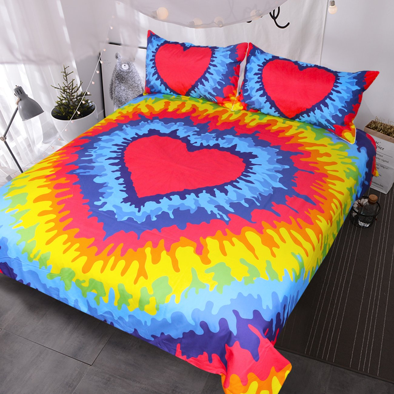 Blessliving Rainbow Tie Dye Bedding Red Heart Duvet Cover Psychedelic Bed Set for Bohemian Hippie Lover (Queen)