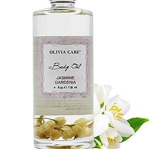 Jasmine Gardenia Body Oil By Olivia Care - Vegan & Natural - Hydrate & Moisturize. Infused with VITAMIN E, K & Omega Fatty Acids - Refreshing Fragrance - Reduce Dry Skin, Anti-Aging Properties - 4 OZ