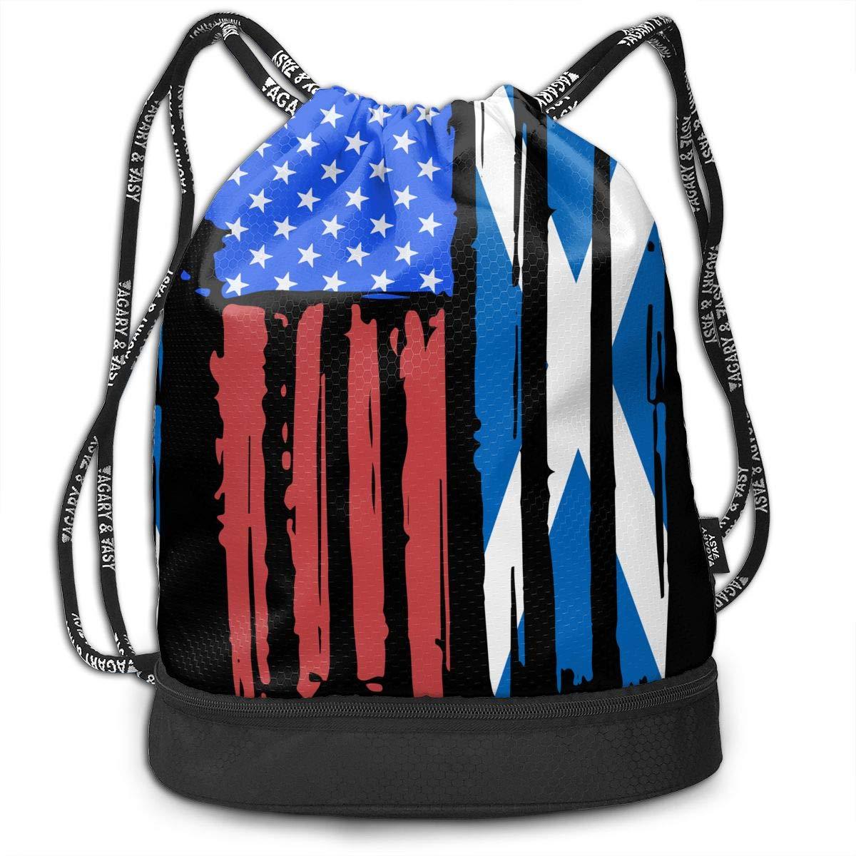 American Half Scotland Flag Drawstring Bag Multifunctional String Backpack Custom Cinch Backpack Rucksack Gym Bag