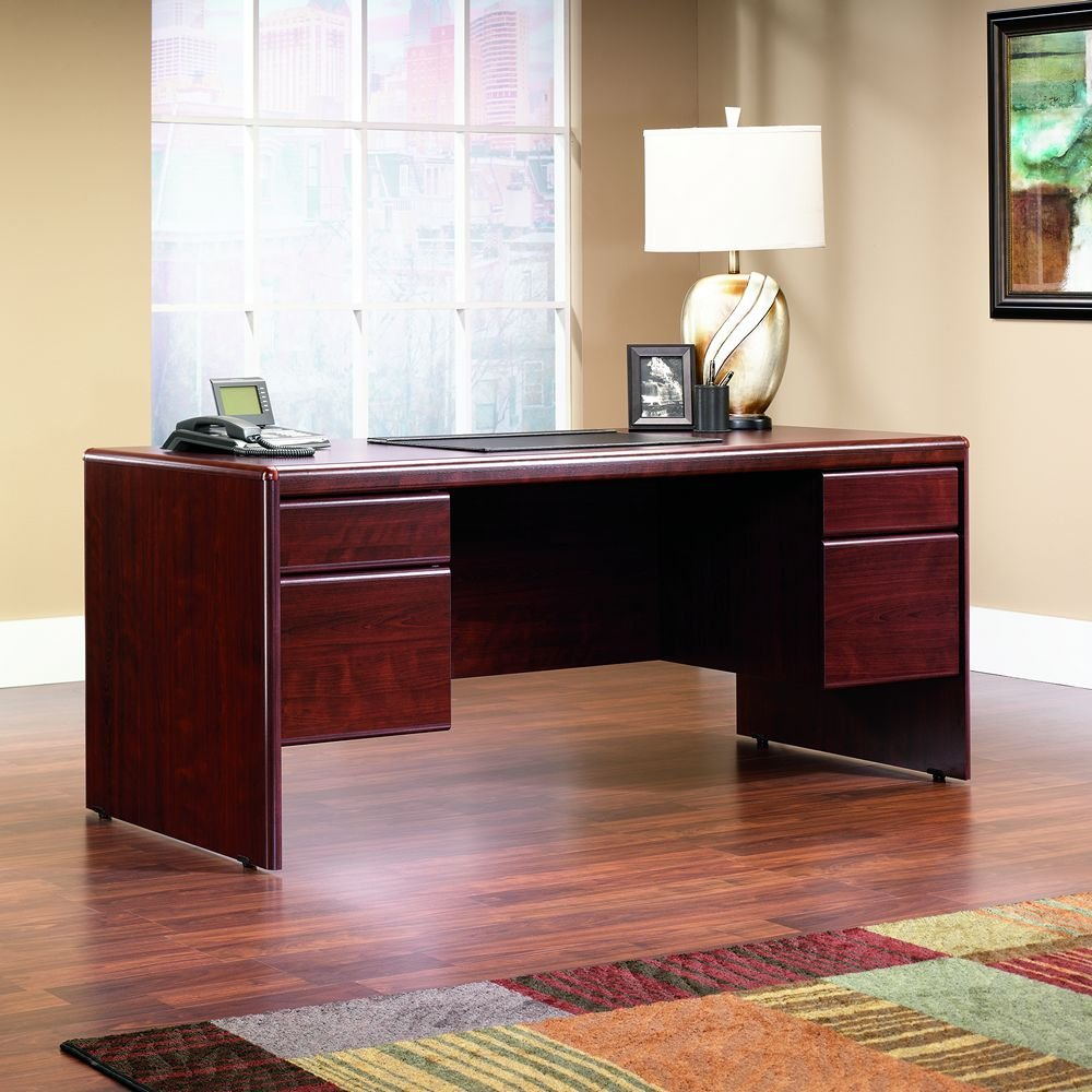 Sauder shoal creek executive desk in jamocha wood - Amazon Com Sauder Office Furniture Cornerstone Collection Classic Cherry Executive Desk Kitchen Dining