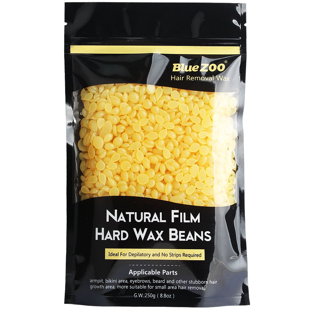 Bluezoo Stripless Professional Black Hot Film Depilatory Hard Wax Beans For Men, Ideal Depilatory Wax for All kinds of Skin Types, 250g/Bag