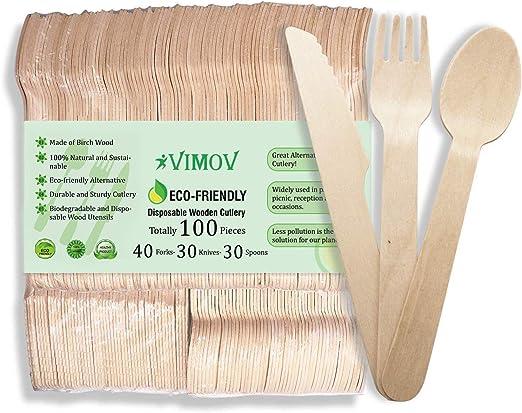 VIMOV 100 Piezas Cubertería desechable de Madera, ecológica ...