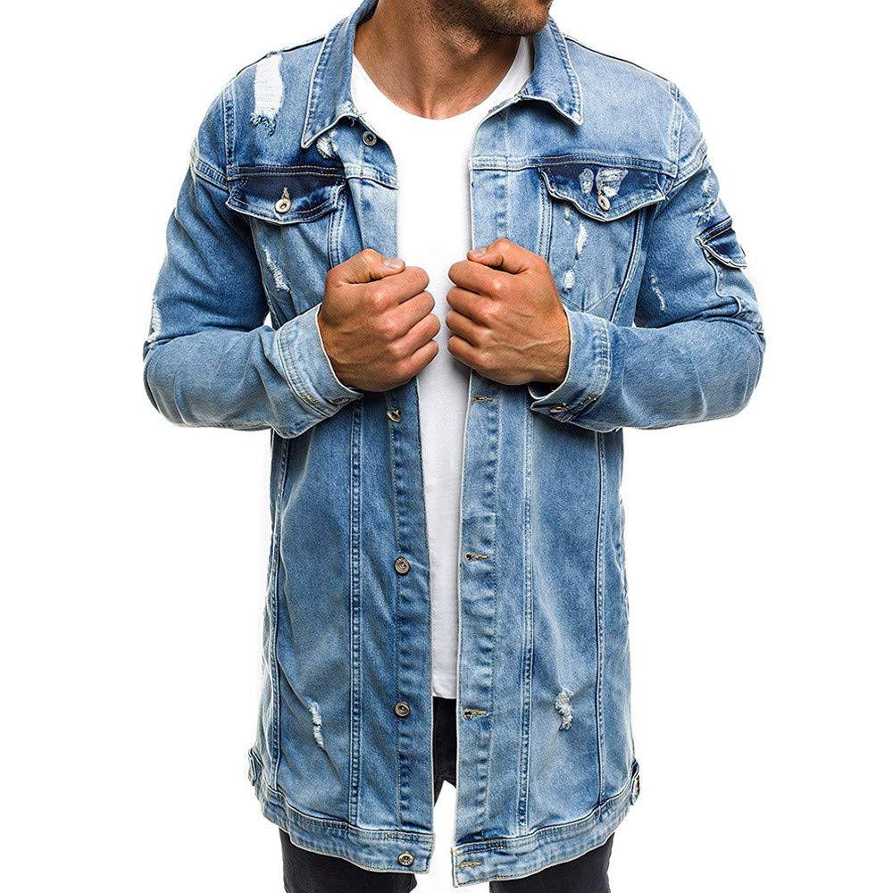 Mens Autumn Winter Casual Vintage Wash Distressed Ripped Denim Top Jacket Coat by iYYVV