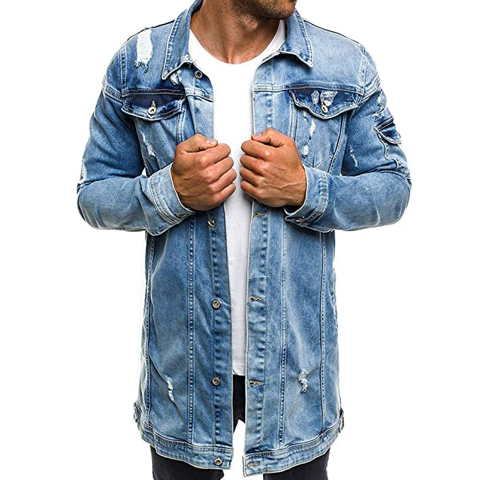 Clearance Men Coat Muranba Vintage Wash Broken Hole Denim ...