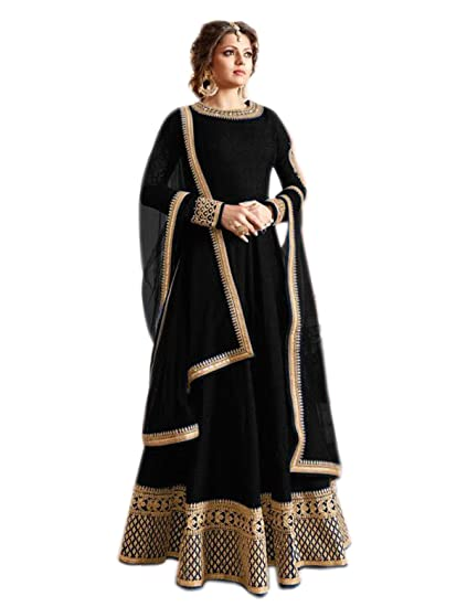 Shoppingover Anarkali Dress Gowns For Women Party Wear Black Color