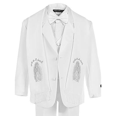Bello Giovane Baby Boys White Christening No Tail Tuxedo Maria Scarf 6 Piece