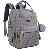 Diaper Bag Backpack with Portable Changing Pad, Pacifier Case and Stroller Straps, Dikaslon Large Unisex Baby Bags for Boys Girls, Multipurpose Travel Back Pack for Moms Dads, Gray