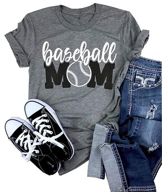 3f591207 Amazon.com: Baseball Mom Shirt Women's Short Sleeve O-Neck Letters Print  Casual Tops Tees: Clothing