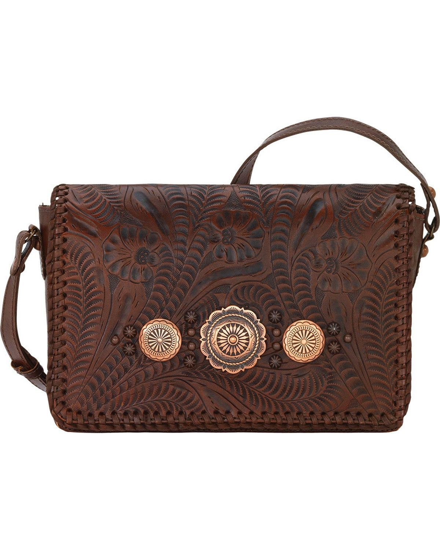 American West Women's Lariat Love Crossbody Bag/Wallet Chestnut One Size