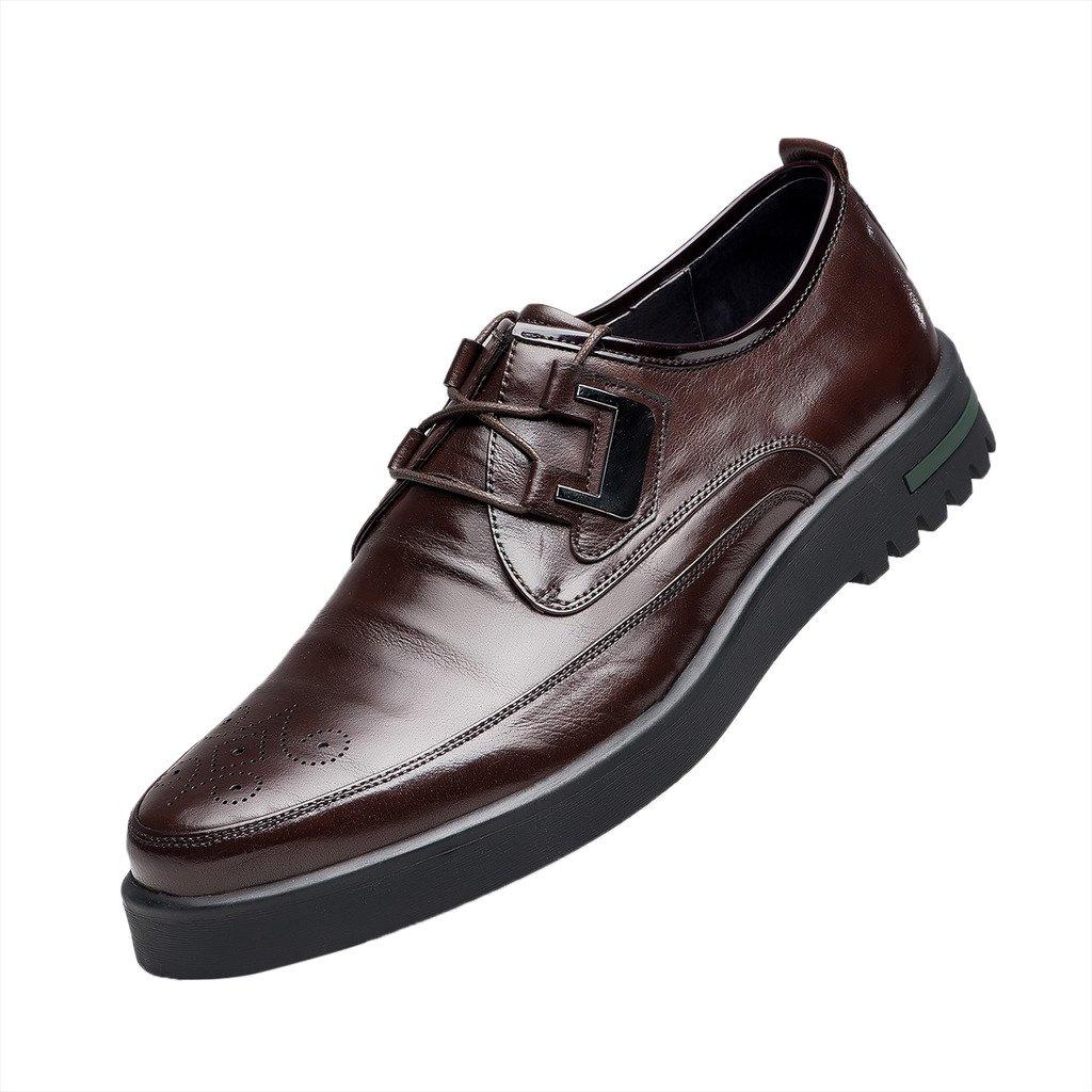 ZRO Men's Brogue Oxfords Business Dress Flats Shoes Brown US 6.5