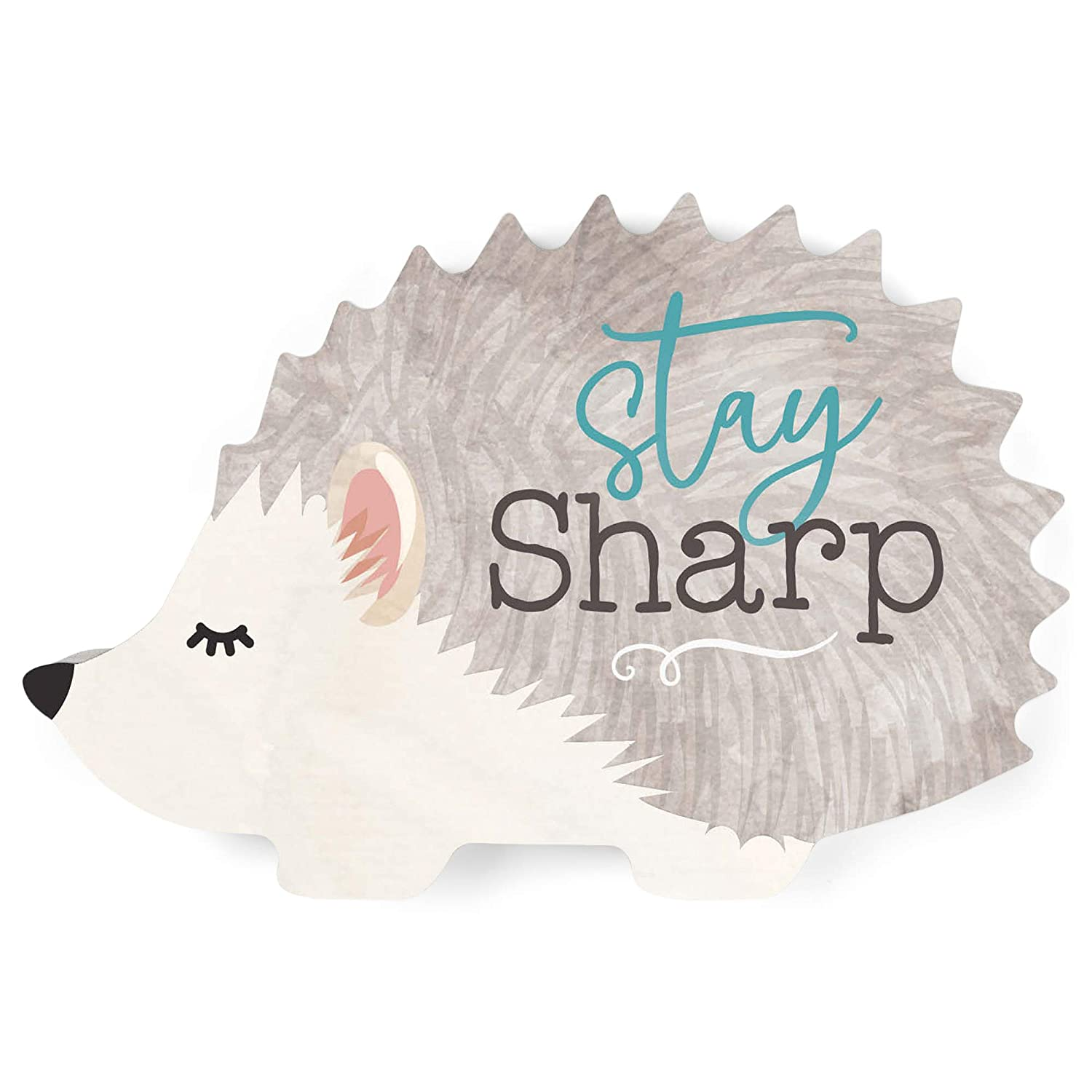 P. Graham Dunn Stay Sharp Cute Hedgehog Grey and Cream 6 x 4 Wood Shaped Tabletop Plaque
