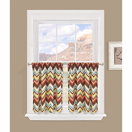 Colordrift Kitchen Window Curtains Summit Stripe 29 X 24u0026quot; Kitchen Tier  Pair   Included 2