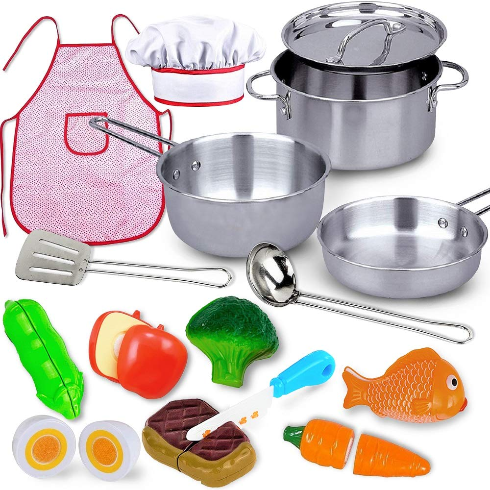 FUNERICA Play Kitchen Stainless-Steel Large Cookware Pots and Pans Set, Pretend Cooking Utensils, Apron & Chef Hat, Cutting Vegetables, Toy Kitchen Accessories for Kids, Girls, Boys, Toddlers