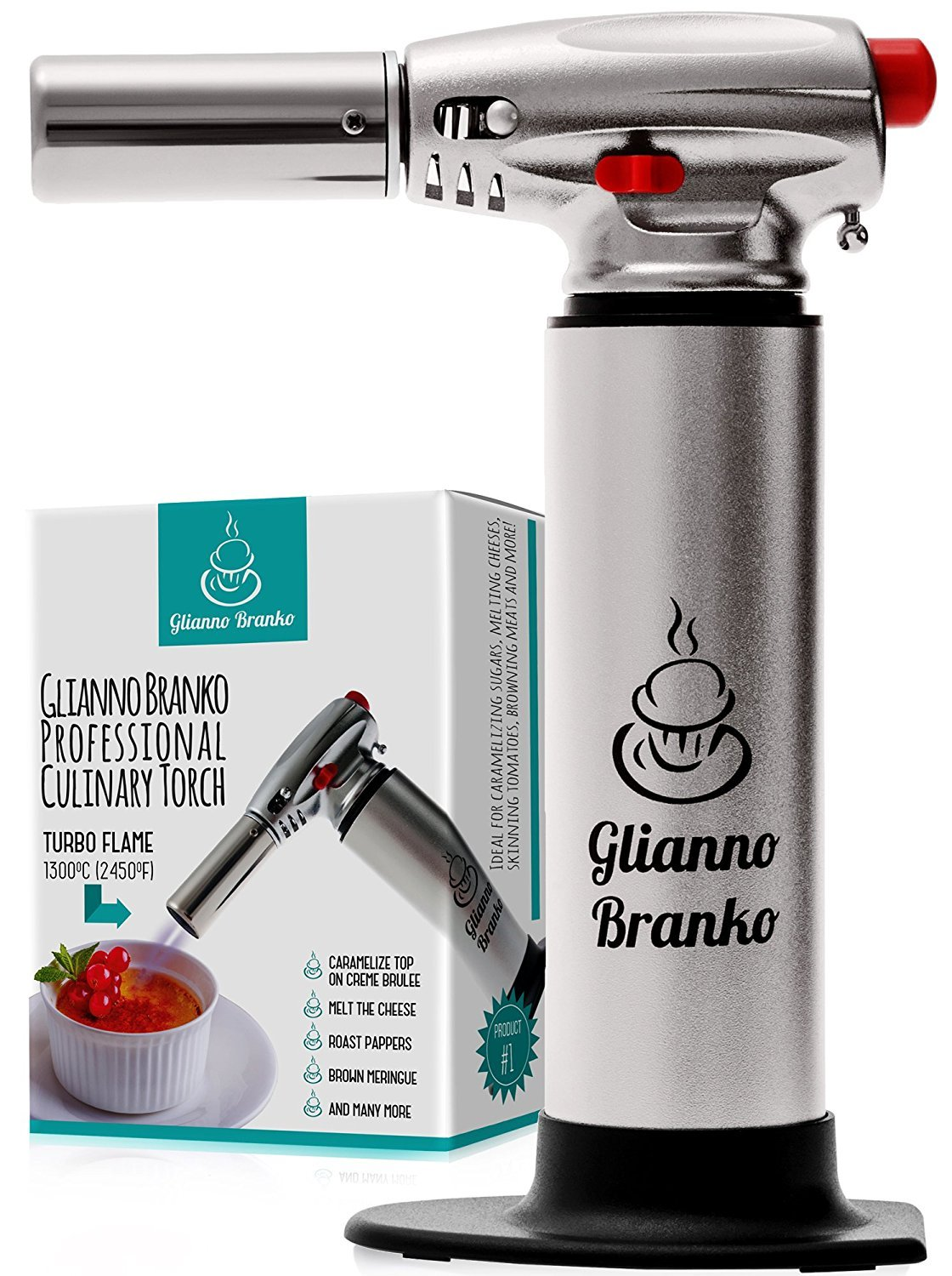 Blow Torch - Crème Brulee Torch - Best Butane Torch Lighter - Culinary Torch - Kitchen Torch - Cooking Torch - Chef Torch - Food Torch with Safety Lock Adjustable Flame - Kitchen Gifts For Woman Man
